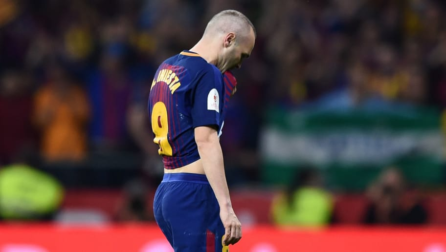 MADRID, SPAIN - APRIL 21: Andres Iniesta of FC Barcelona is subbed off during the Spanish Copa del Rey Final match between Barcelona and Sevilla at Wanda Metropolitano stadium on April 21, 2018 in Madrid, Spain. (Photo by Denis Doyle/Getty Images)