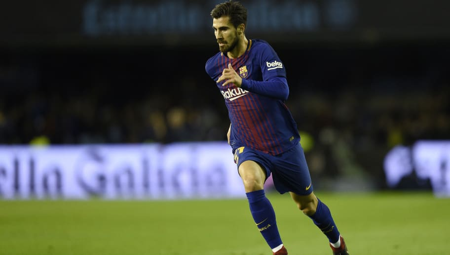VIGO, SPAIN - JANUARY 04: Andre Gomes of FC Barcelona in action during the Copa del Rey round of 16 first leg match between RC Celta de Vigo and FC Barcelona at Municipal Balaidos on January 4, 2018 in Vigo, Spain. (Photo by Octavio Passos/Getty Images)