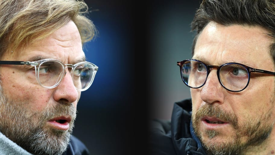 FILE PHOTO (EDITORS NOTE: GRADIENT ADDED - COMPOSITE OF TWO IMAGES - Image numbers (L) 884544180 and 927814588) In this composite image a comparison has been made between Jurgen Klopp, Manager of Liverpool (L) and Head Coach of AS Roma Eusebio Di Francesco.   Liverpool and  A.S. Roma meet in one of the UEFA Champions League Semi Finals over two legs.  ***LEFT IMAGE*** BRIGHTON, ENGLAND - DECEMBER 02: Jurgen Klopp, Manager of Liverpool looks on before the Premier League match between Brighton and Hove Albion and Liverpool at Amex Stadium on December 2, 2017 in Brighton, England. (Photo by Dan Istitene/Getty Images) ***RIGHT IMAGE*** NAPLES, ITALY - MARCH 03: Coach of AS Roma Eusebio Di Francesco looks on during the serie A match between SSC Napoli and AS Roma - Serie A at Stadio San Paolo on March 3, 2018 in Naples, Italy. (Photo by Francesco Pecoraro/Getty Images)