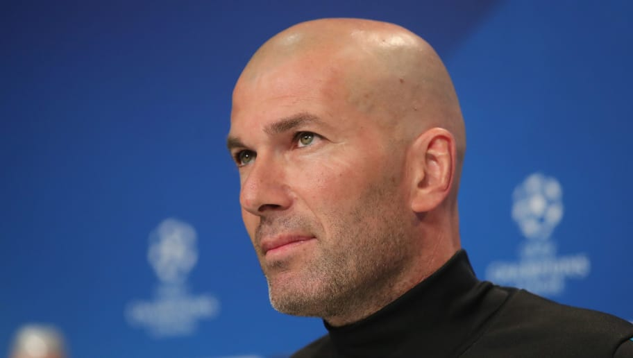 MUNICH, GERMANY - APRIL 24:  Zinedine Zidane, Manager of Real Madrid looks on during the Real Madrid press conference ahead of the UEFA Champions League semi final against Bayern Munich at Allianz Arena on April 24, 2018 in Munich, Germany.  (Photo by Alexander Hassenstein/Bongarts/Getty Images)