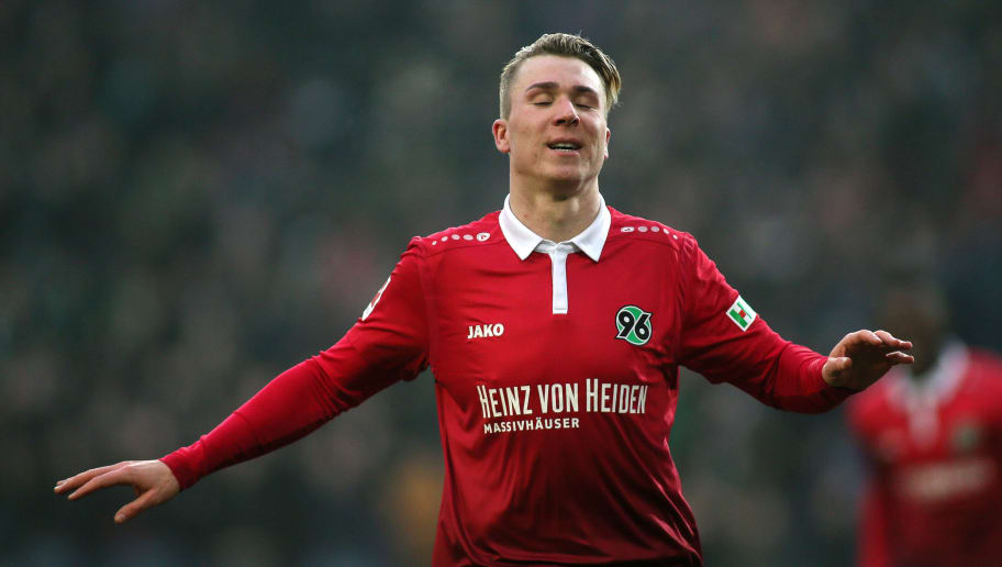 HANOVER, GERMANY - FEBRUARY 10: Felix Klaus of Hannover 96 celebrates scoring his team's second goal during the Bundesliga match between Hannover 96 and Sport-Club Freiburg at HDI-Arena on February 10, 2018 in Hanover, Germany. (Photo by Selim Sudheimer/Bongarts/Getty Images)