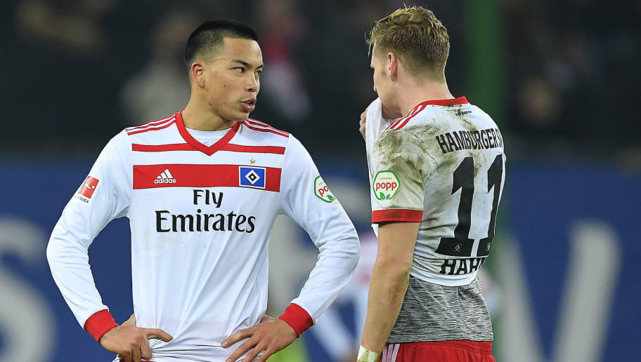 HAMBURG, GERMANY - JANUARY 20: Bobby Wood of Hamburg (7) and Andre Hahn of Hamburg look dejected after the Bundesliga match between Hamburger SV and 1. FC Koeln at Volksparkstadion on January 20, 2018 in Hamburg, Germany. (Photo by Stuart Franklin/Bongarts/Getty Images)