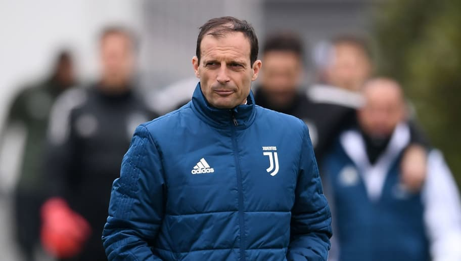 Juventus' coach Massimiliano Allegri attends a training session on the eve of the UEFA Champions League football match Real Madrid vs Juventus on April 10, 2018 at the 'Juventus Training Center' in Vinovo.   / AFP PHOTO / MARCO BERTORELLO        (Photo credit should read MARCO BERTORELLO/AFP/Getty Images)