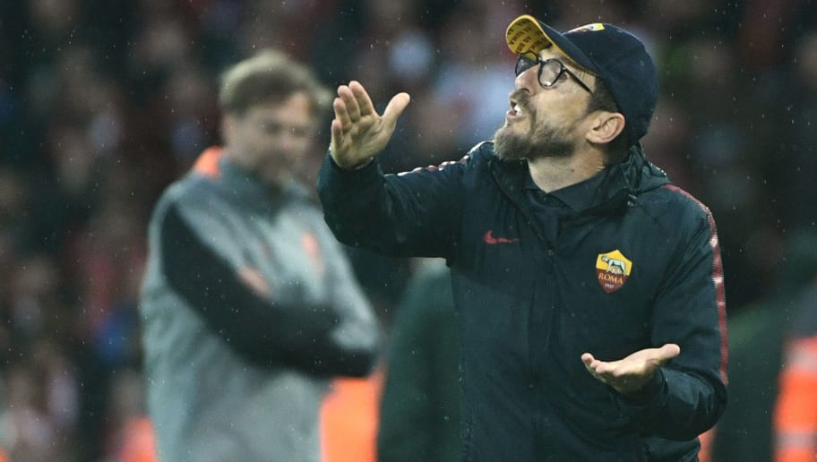 Roma's Italian head coach Eusebio Di Francesco gestures during the UEFA Champions League first leg semi-final football match between Liverpool and Roma at Anfield stadium in Liverpool, north west England on April 24, 2018. (Photo by Filippo MONTEFORTE / AFP)        (Photo credit should read FILIPPO MONTEFORTE/AFP/Getty Images)