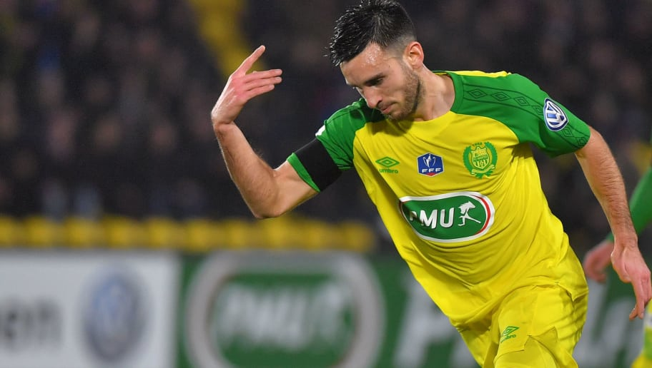 Nantes' French midfielder Adrien Thomasson celebrates after scoring a goal during the French Cup round of 32 football match FC Nantes vs AJ Auxerre at La Beaujoire stadium in Nantes, western France, on January 23, 2018.  / AFP PHOTO / LOIC VENANCE        (Photo credit should read LOIC VENANCE/AFP/Getty Images)