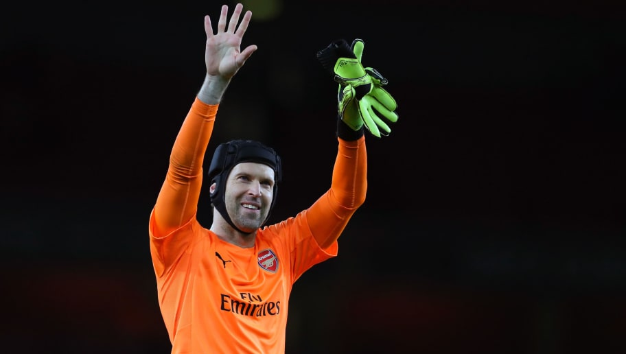 LONDON, ENGLAND - APRIL 05: Petr Cech of Arsenal during the UEFA Europa League quarter final leg one match between Arsenal FC and CSKA Moskva at Emirates Stadium on April 5, 2018 in London, United Kingdom. (Photo by Catherine Ivill/Getty Images)