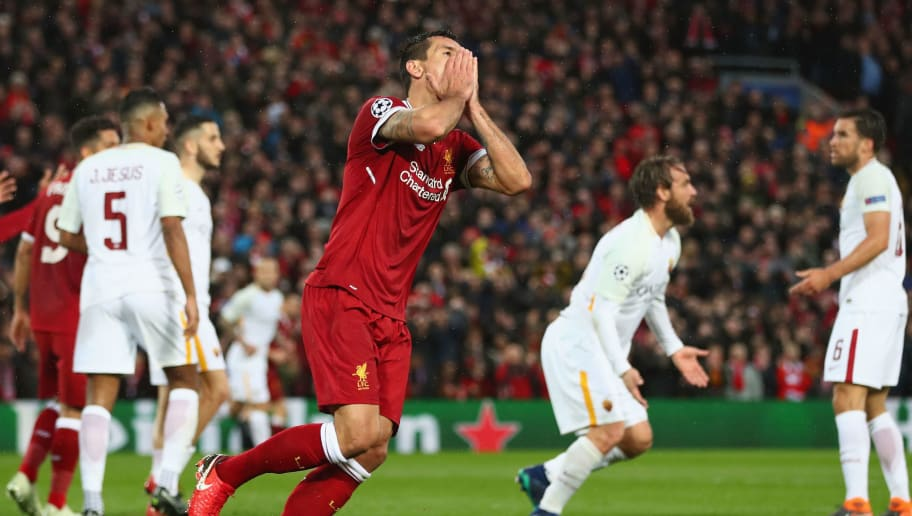 LIVERPOOL, ENGLAND - APRIL 24:  Dejan Lovren of Liverpool reacts after a miss during the UEFA Champions League Semi Final First Leg match between Liverpool and A.S. Roma at Anfield on April 24, 2018 in Liverpool, United Kingdom.  (Photo by Clive Brunskill/Getty Images)