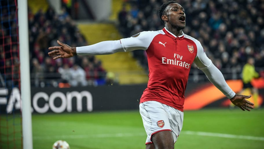Arsenal's English striker Danny Welbeck celebrates a goal during the UEFA Europa League second leg quarter-final football match  between  CSKA Moscow and Arsenal at VEB Arena stadium in Moscow on April 12, 2018.  / AFP PHOTO / Alexander NEMENOV        (Photo credit should read ALEXANDER NEMENOV/AFP/Getty Images)