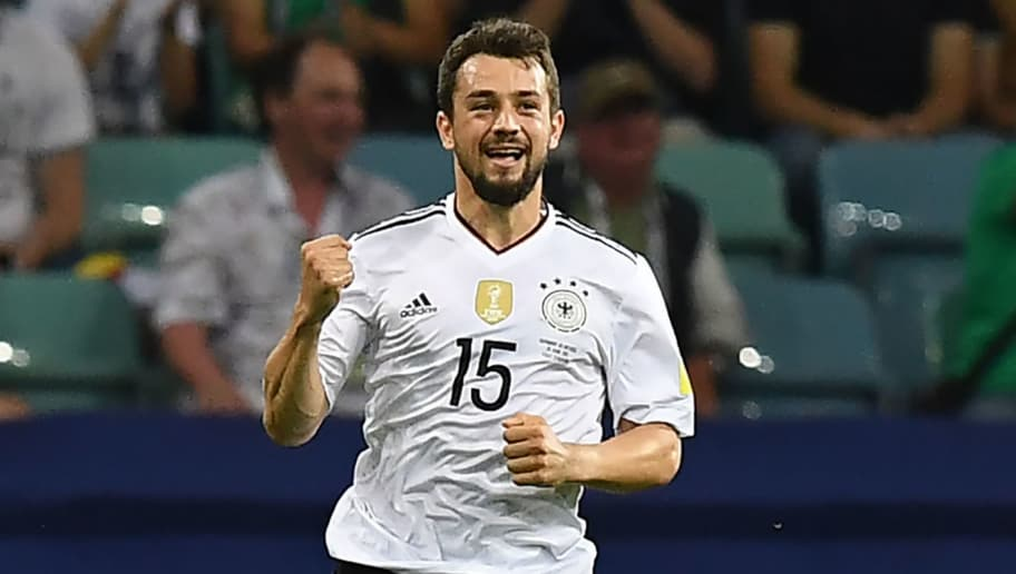 Germany's midfielder Amin Younes celebrates after scoring during the 2017 Confederations Cup semi-final football match between Germany and Mexico at the Fisht Stadium in Sochi on June 29, 2017. / AFP PHOTO / FRANCK FIFE        (Photo credit should read FRANCK FIFE/AFP/Getty Images)
