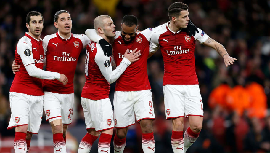 Arsenal's French striker Alexandre Lacazette (2nd R) celebrates with (L-R) Arsenal's Armenian midfielder Henrikh Mkhitaryan, Arsenal's Spanish defender Hector Bellerin, Arsenal's English midfielder Jack Wilshere and Arsenal's Swiss midfielder Granit Xhaka after scoring their fourth goal during the UEFA Europa League first leg quarter-final football match  between Arsenal and CSKA Moscow at the Emirates Stadium in London on April 5, 2018.  / AFP PHOTO / IKIMAGES / Ian KINGTON        (Photo credit should read IAN KINGTON/AFP/Getty Images)