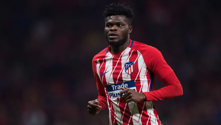 MADRID, SPAIN - APRIL 01: Thomas Teve Partey of Atletico de Madrid looks on during the La Liga match between Atletico Madrid and Deportivo La Coruna at Wanda Metropolitano stadium on April 1, 2018 in Madrid, Spain. (Photo by Denis Doyle/Getty Images)