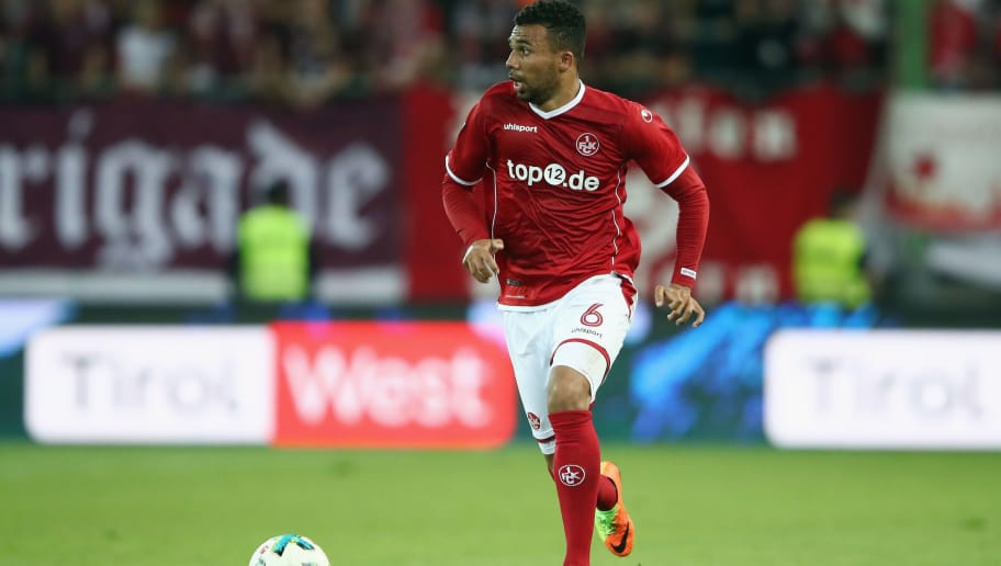KAISERSLAUTERN, GERMANY - AUGUST 28:  Leon Guwara of Kaiserslautern controls the ball during the Second Bundesliga match between 1. FC Kaiserslautern and Eintracht Braunschweig at Fritz-Walter-Stadion on August 28, 2017 in Kaiserslautern, Germany.  (Photo by Alex Grimm/Bongarts/Getty Images)