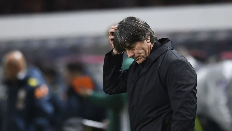 Germany's coach Joachim Loew reacts during the international friendly football match between Germany and Brazil in Berlin, on March 27, 2018. / AFP PHOTO / ROBERT MICHAEL        (Photo credit should read ROBERT MICHAEL/AFP/Getty Images)