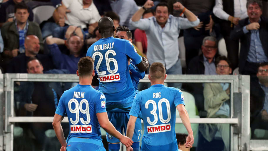 TURIN, ITALY - APRIL 22: Kalidou Koulibaly of SSC Napoli celebrates after scoring a goal during the serie A match between Juventus and SSC Napoli on April 22, 2018 in Turin, Italy.  (Photo by Gabriele Maltinti/Getty Images) *** Local Caption *** Kalidou Koulibaly