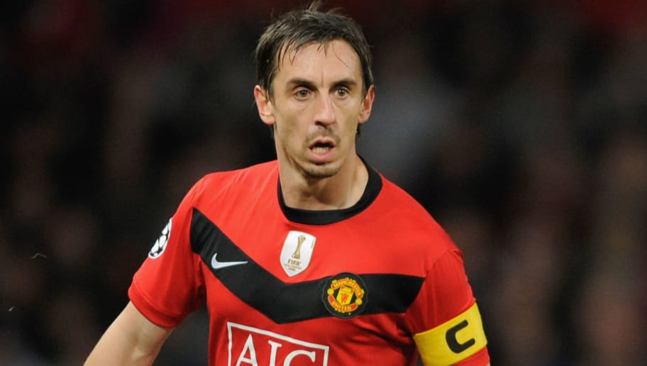 MANCHESTER, UNITED KINGDOM - NOVEMBER 03:  Gary Neville of Manchester United in action during the UEFA Champions League Group B match between Manchester United and CSKA Moscow at Old Trafford on November 3, 2009 in Manchester, England. (Photo by Michael Regan/Getty Images)