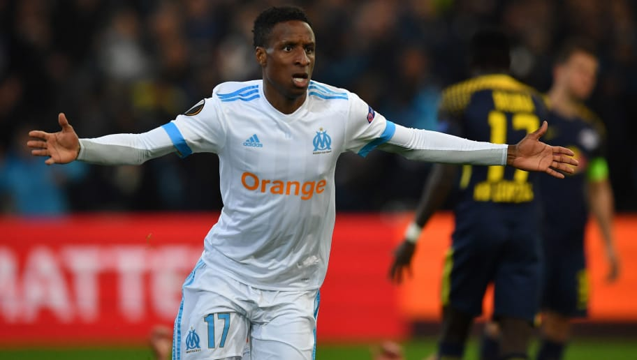 MARSEILLE, FRANCE - APRIL 12:  Bouna Sarr of Olympique Marseille celebrates a goal during the UEFA Europa League quarter final leg two match between Olympique Marseille and RB Leipzig at Stade Velodrome on April 12, 2018 in Marseille, France.  (Photo by Valerio Pennicino/Bongarts/Getty Images)