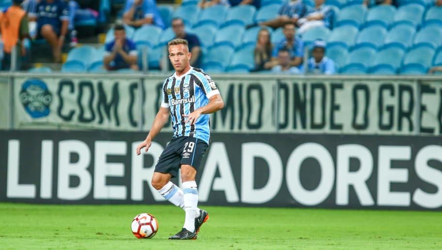 PORTO ALEGRE, BRAZIL - April 04: Arthur of Gremio during the match between Gremio and Monagas, part of Copa Libertadores 2018, at Arena do Gremio on April 04, 2018, in Porto Alegre, Brazil. (Photo by Lucas Uebel/Getty Images)