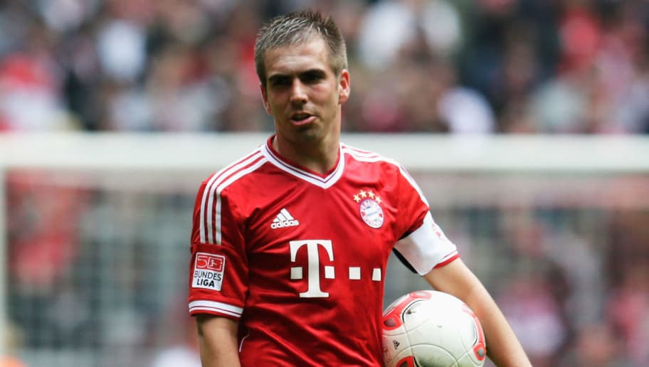 MUNICH, GERMANY - MAY 11:  Philipp Lahm of Muenchen looks on during the Bundesliga match between FC Bayern Muenchen and FC Augsburg at Allianz Arena on May 11, 2013 in Munich, Germany.  (Photo by Joern Pollex/Bongarts/Getty Images)