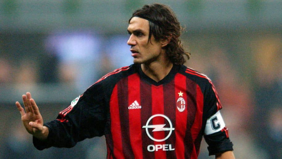MILAN - NOVEMBER 23:  Paolo Maldini of AC Milan during the Serie A match between AC Milan and Inter Milan at the G.Meazza Stadium, Milan, Italy on November 23, 2002. (Photo by Grazia Neri/Getty Images)