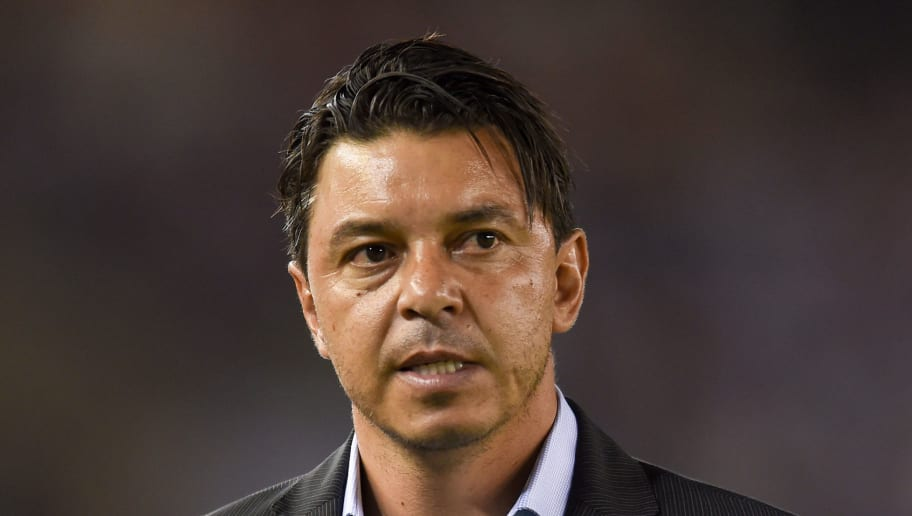 BUENOS AIRES, ARGENTINA - APRIL 05: Marcelo Gallardo coach of River Plate looks on after a Copa CONMEBOL Libertadores match between River Plate and Independiente Santa Fe at Estadio Monumental Antonio Vespucio Liberti on April 5, 2018 in Buenos Aires, Argentina. (Photo by Marcelo Endelli/Getty Images)