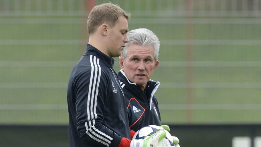 Bayern Munich's headcoach Jupp Heynckes (R) and Bayern Munich's goalkeeper Manuel Neuer talk during the final team training on the eve of the UEFA Champions League semi final first leg football match between FC Bayern Munich and FC Barcelona at the trainings area in Munich, southern Germany, on April 22, 2013. The semi final match will take place on April 23, 2013. AFP PHOTO/CHRISTOF STACHE        (Photo credit should read CHRISTOF STACHE/AFP/Getty Images)