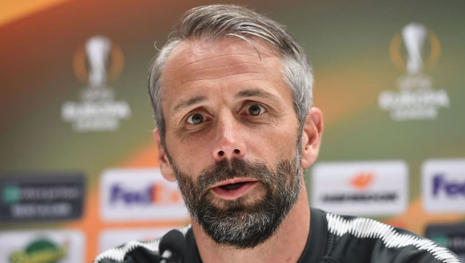 FC Salzburg manager Marco Rose addresses a press conference in Marseille on April 25, 2018, on the eve of the first leg of the Europa Cup semi-final football match between Olympique de Marseille and FC Salzburg. (Photo by Boris HORVAT / AFP)        (Photo credit should read BORIS HORVAT/AFP/Getty Images)