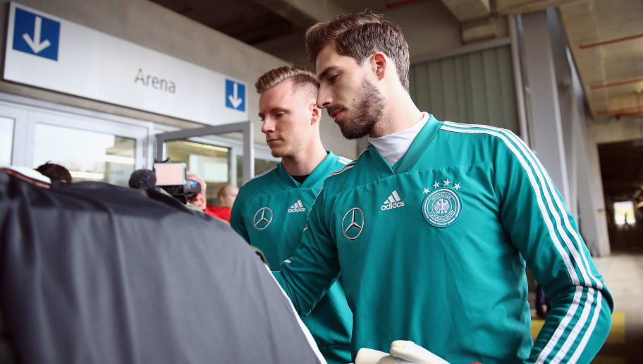 DUESSELDORF, GERMANY - MARCH 22:  Goalkeepers Kevin Trapp (front) and Bernd Leno arrive for a Germany training session ahead of their international friendly match against Spain at ESPRIT arena on March 22, 2018 in Duesseldorf, Germany.  (Photo by Maja Hitij/Bongarts/Getty Images)