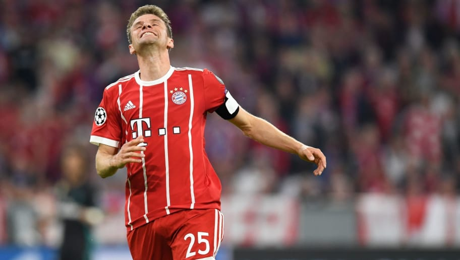 Bayern Munich's German forward Thomas Mueller reacts during the UEFA Champions League semi-final first-leg football match FC Bayern Munich v Real Madrid CF in Munich in southern Germany on April 25, 2018. (Photo by Christof STACHE / AFP)        (Photo credit should read CHRISTOF STACHE/AFP/Getty Images)