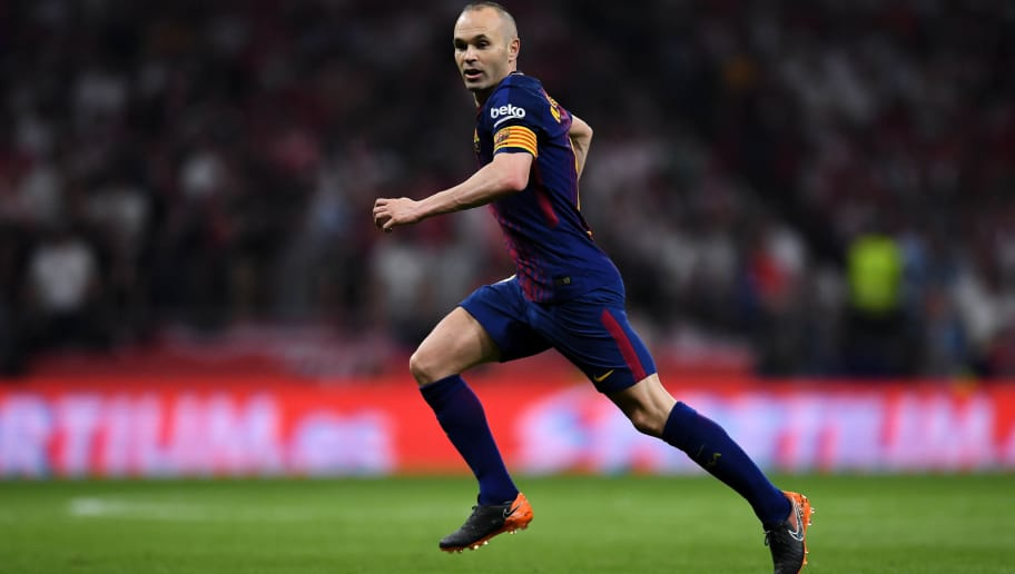 BARCELONA, SPAIN - APRIL 21:  Andres Iniesta of FC Barcelona looks on during the Spanish Copa del Rey Final match between Barcelona and Sevilla at Wanda Metropolitano stadium on April 21, 2018 in Barcelona, Spain.  (Photo by David Ramos/Getty Images)