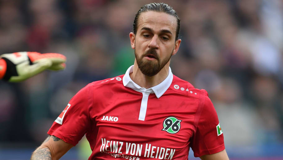 HANOVER, GERMANY - MARCH 10:  Martin Harnik of Hannover in action during the Bundesliga match between Hannover 96 and FC Augsburg at HDI-Arena on March 10, 2018 in Hanover, Germany.  (Photo by Stuart Franklin/Bongarts/Getty Images)