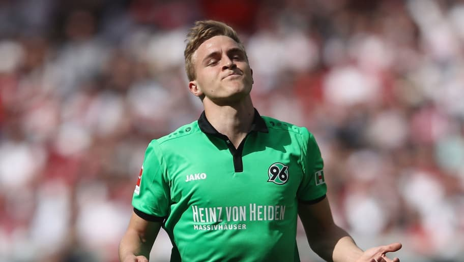 STUTTGART, GERMANY - APRIL 14: Timo Huebers of Hannover reacts during the Bundesliga match between VfB Stuttgart and Hannover 96 at Mercedes-Benz Arena on April 14, 2018 in Stuttgart, Germany.  (Photo by Alex Grimm/Bongarts/Getty Images)