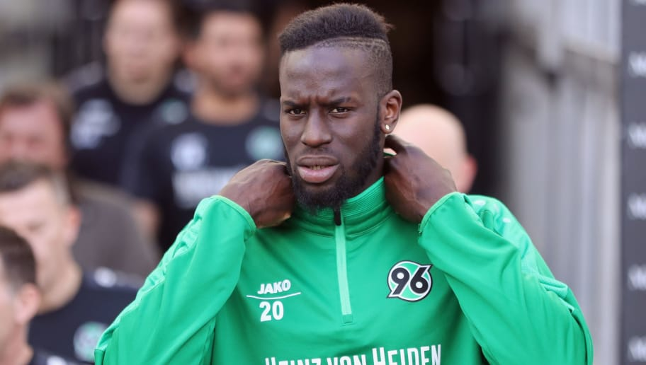 STUTTGART, GERMANY - APRIL 14: Salif Sane of Hannover walks out of the tunnel prior to the Bundesliga match between VfB Stuttgart and Hannover 96 at Mercedes-Benz Arena on April 14, 2018 in Stuttgart, Germany.  (Photo by Alex Grimm/Bongarts/Getty Images)