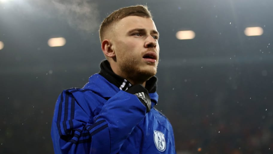 MAINZ, GERMANY - MARCH 09: Max Meyer of Schalke is seen prior to the Bundesliga match between 1. FSV Mainz 05 and FC Schalke 04 at Opel Arena on March 9, 2018 in Mainz, Germany.  (Photo by Alex Grimm/Bongarts/Getty Images)