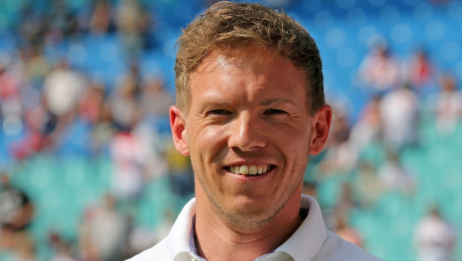 LEIPZIG, GERMANY - APRIL 21:  Head coach Julian Nagelsmann of Hoffenheim looks on prior to the Bundesliga match between RB Leipzig and TSG 1899 Hoffenheim at Red Bull Arena on April 21, 2018 in Leipzig, Germany.  (Photo by Matthias Kern/Bongarts/Getty Images)