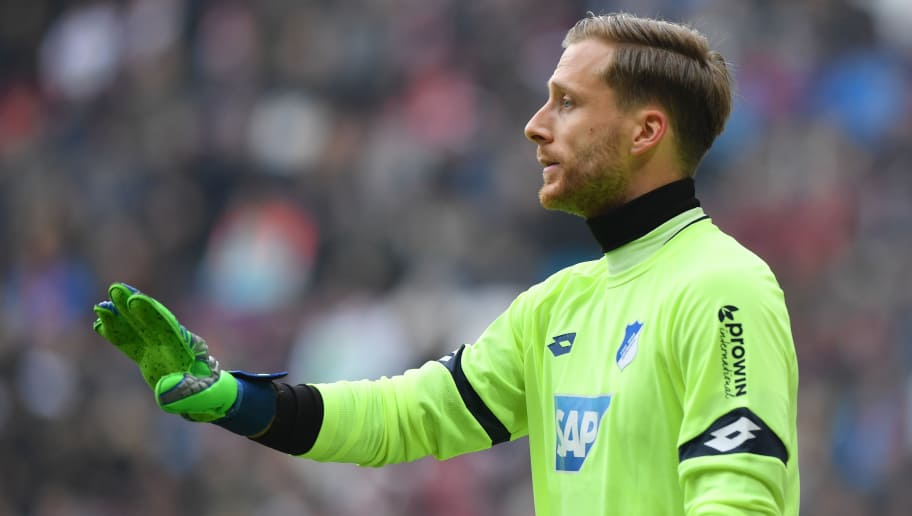 AUGSBURG, GERMANY - MARCH 03: Goalkeeper Oliver Baumann of Hoffenheim gestures during the Bundesliga match between FC Augsburg and TSG 1899 Hoffenheim at WWK-Arena on March 3, 2018 in Augsburg, Germany. (Photo by Sebastian Widmann/Bongarts/Getty Images)