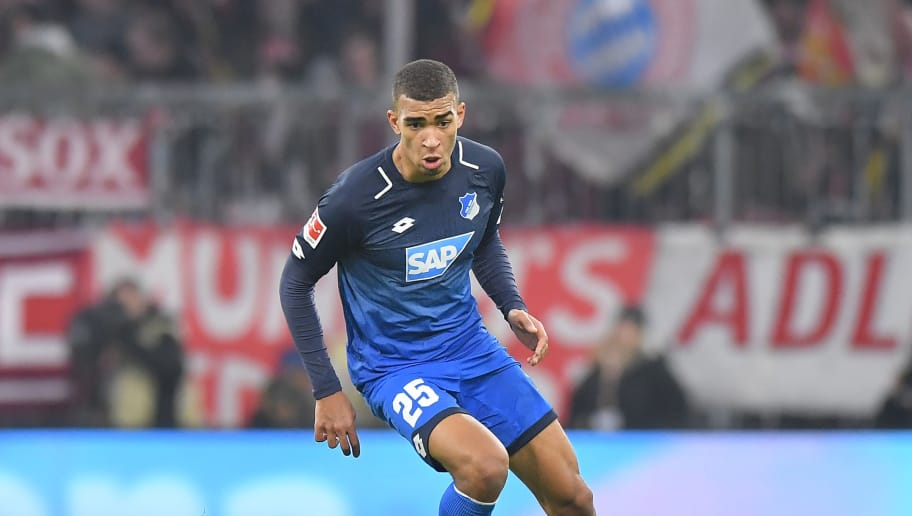 MUNICH, GERMANY - JANUARY 27: Kevin Akpoguma  of Hoffenheim plays the ball during the Bundesliga match between FC Bayern Muenchen and TSG 1899 Hoffenheim at Allianz Arena on January 27, 2018 in Munich, Germany. (Photo by Sebastian Widmann/Bongarts/Getty Images)