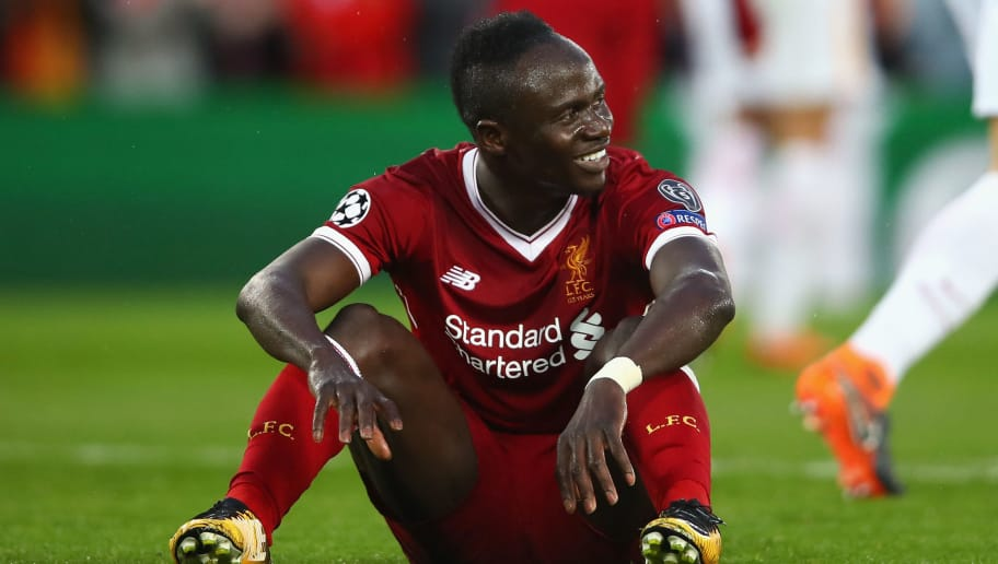 LIVERPOOL, ENGLAND - APRIL 24:  Sadio Mane of Liverpool reacts during the UEFA Champions League Semi Final First Leg match between Liverpool and A.S. Roma at Anfield on April 24, 2018 in Liverpool, United Kingdom.  (Photo by Clive Brunskill/Getty Images)