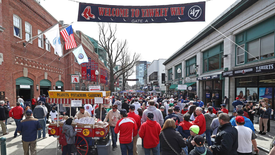 BOSTON, MA - APRIL 3: Fans walk down Yawkey Way before the opening day game between the Boston Red Sox and the Pittsburgh Pirates at Fenway Park on April 3, 2017 in Boston, Massachusetts. (Photo by Maddie Meyer/Getty Images)