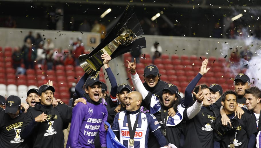 SANDY, UT - APRIL 27: Players of Monterrey Mexico celebrate their win over Real Salt Lake during the second half of the CONCACAF Championship game April 27, 2011 at Rio Tinto Stadium in Sandy, Utah. Monterrey beat Real Salt Lake 1-0 to win the CONCACAF championship. (Photo by George Frey/Getty Images)