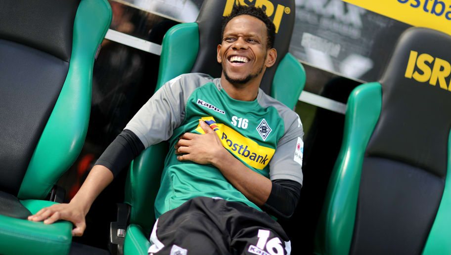 MOENCHENGLADBACH, GERMANY - APRIL 07: Ibrahima Traore of Moenchengladbach smiles on the bench prior to the Bundesliga match between Borussia Moenchengladbach and Hertha BSC at Borussia-Park on April 7, 2018 in Moenchengladbach, Germany. The match between Moenchengladbach and Berlin ended 2-1. (Photo by Christof Koepsel/Bongarts/Getty Images)