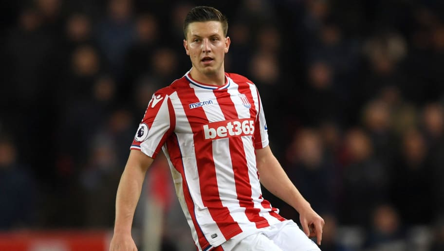 Kevin Wimmer of Stoke City during the Premier League match between Stoke City and West Ham United at Bet365 Stadium on December 16, 2017 in Stoke on Trent, England.  (Photo by Gareth Copley/Getty Images)