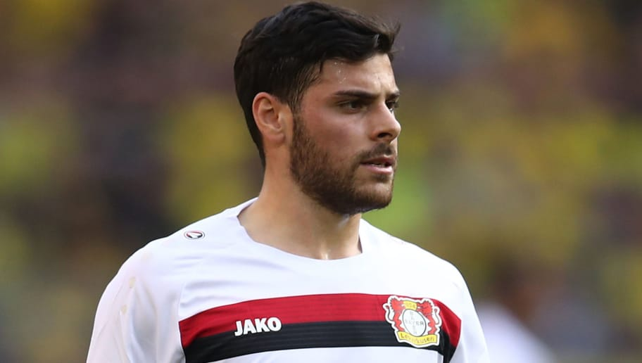 DORTMUND, GERMANY - APRIL 21: A butterfly is seen on the shirt of Kevin Volland of Bayer Leverkusen during the Bundesliga match between Borussia Dortmund and Bayer 04 Leverkusen at Signal Iduna Park on April 21, 2018 in Dortmund, Germany. (Photo by Lars Baron/Bongarts/Getty Images)