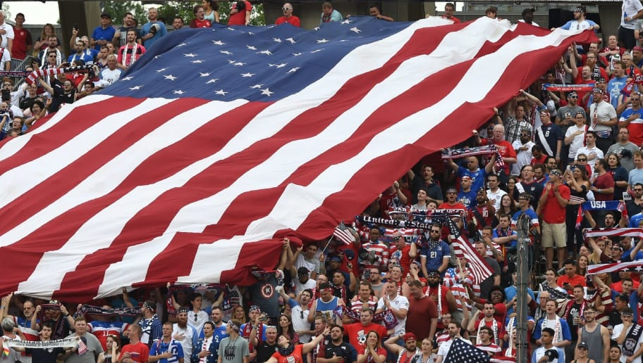 USA fans unfurl a huge flag during their International Friendly match against Ghana on July 1, 2017 at Pratt & Whitney Stadium at Rentschler Field in East Hartford, Connecticut. / AFP PHOTO / TIMOTHY A. CLARY        (Photo credit should read TIMOTHY A. CLARY/AFP/Getty Images)