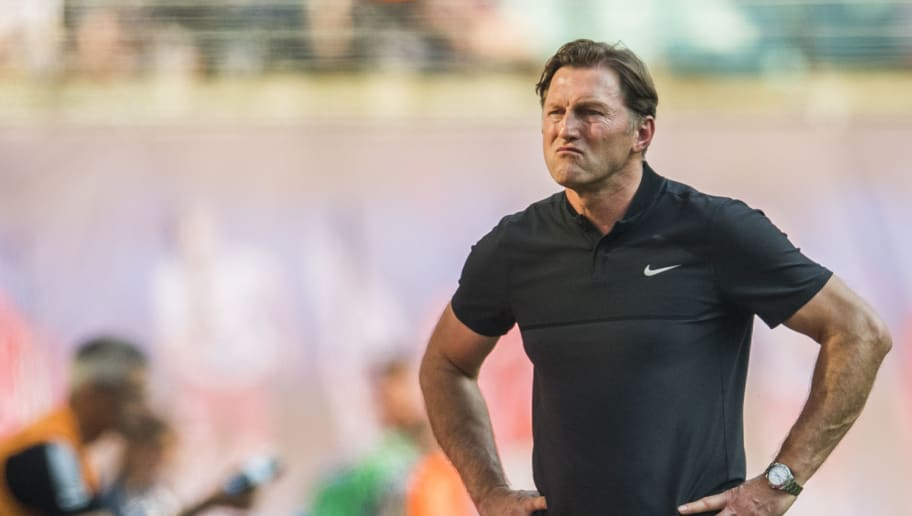 Leipzig's Austrian head coach Ralph Hasenhuettl looks on during the German first division Bundesliga football match between RB Leipzig and TSG Hoffenheim in Leipzig, eastern Germany on April 21, 2018. (Photo by ROBERT MICHAEL / AFP) / RESTRICTIONS: DURING MATCH TIME: DFL RULES TO LIMIT THE ONLINE USAGE TO 15 PICTURES PER MATCH AND FORBID IMAGE SEQUENCES TO SIMULATE VIDEO. == RESTRICTED TO EDITORIAL USE == FOR FURTHER QUERIES PLEASE CONTACT DFL DIRECTLY AT + 49 69 650050 / RESTRICTIONS: DURING MATCH TIME: DFL RULES TO LIMIT THE ONLINE USAGE TO 15 PICTURES PER MATCH AND FORBID IMAGE SEQUENCES TO SIMULATE VIDEO. == RESTRICTED TO EDITORIAL USE == FOR FURTHER QUERIES PLEASE CONTACT DFL DIRECTLY AT + 49 69 650050        (Photo credit should read ROBERT MICHAEL/AFP/Getty Images)