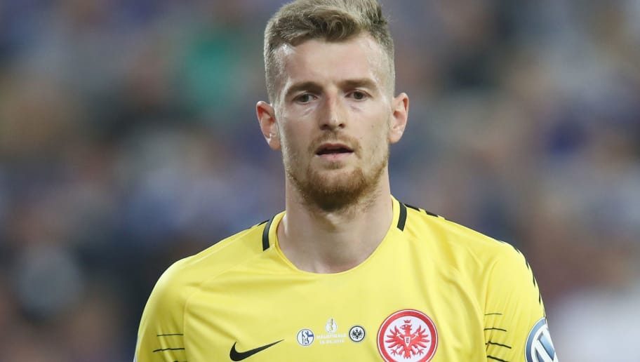 GELSENKIRCHEN, GERMANY - APRIL 18: Goalkeeper Lukas Hradecky of Frankfurt reacts during the DFB Cup Semi Final match between FC Schalke 04 and Eintracht Frankfurt at Veltins-Arena on April 18, 2018 in Gelsenkirchen, Germany.  (Photo by Alex Grimm/Bongarts/Getty Images)