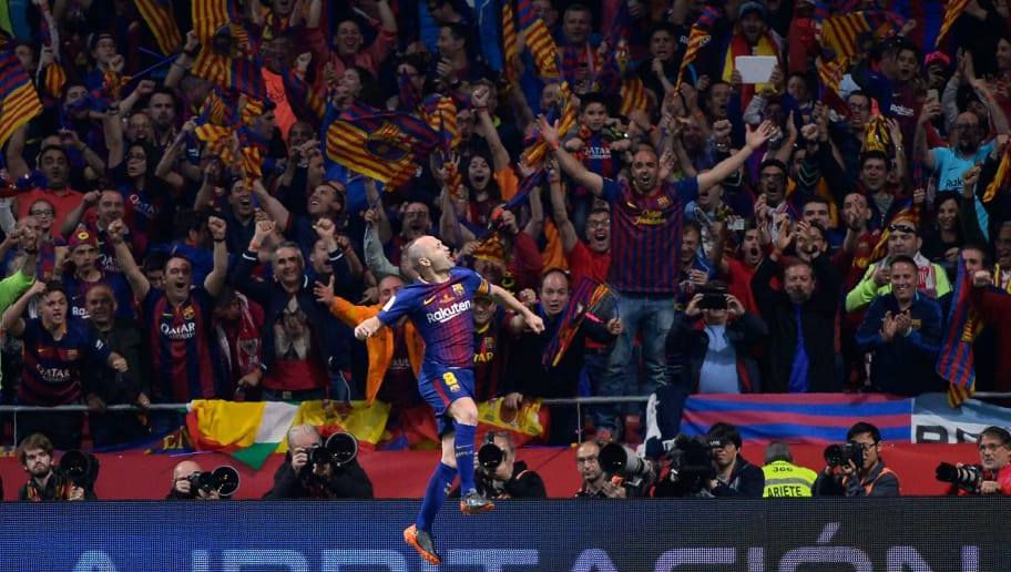 Barcelona's Spanish midfielder Andres Iniesta celebrates after scoring a goal during the Spanish Copa del Rey (King's Cup) final football match Sevilla FC against FC Barcelona at the Wanda Metropolitano stadium in Madrid on April 21, 2018. (Photo by CRISTINA QUICLER / AFP)        (Photo credit should read CRISTINA QUICLER/AFP/Getty Images)