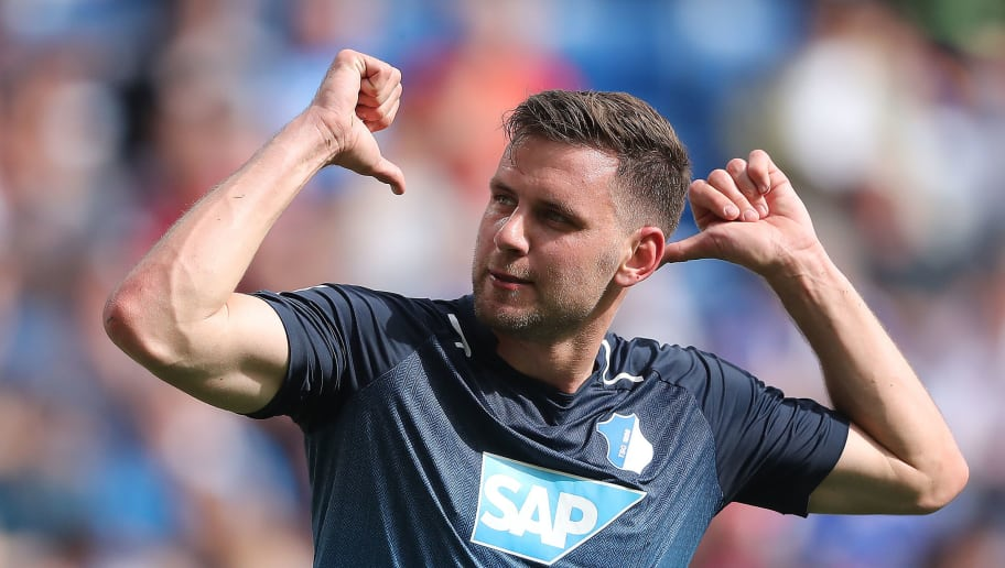 SINSHEIM, GERMANY - APRIL 14: Adam Szalai of Hoffenheim celebrates after he scored a goal to make it 2:0 during the Bundesliga match between TSG 1899 Hoffenheim and Hamburger SV at Wirsol Rhein-Neckar-Arena on April 14, 2018 in Sinsheim, Germany. (Photo by Simon Hofmann/Bongarts/Getty Images)