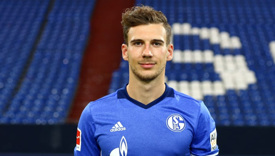 GELSENKIRCHEN, GERMANY - JULY 12:  Leon Goretzka  of FC Schalke 04 poses during the team presentation at Veltins Arena on July 12, 2017 in Gelsenkirchen, Germany.  (Photo by Christof Koepsel/Bongarts/Getty Images)