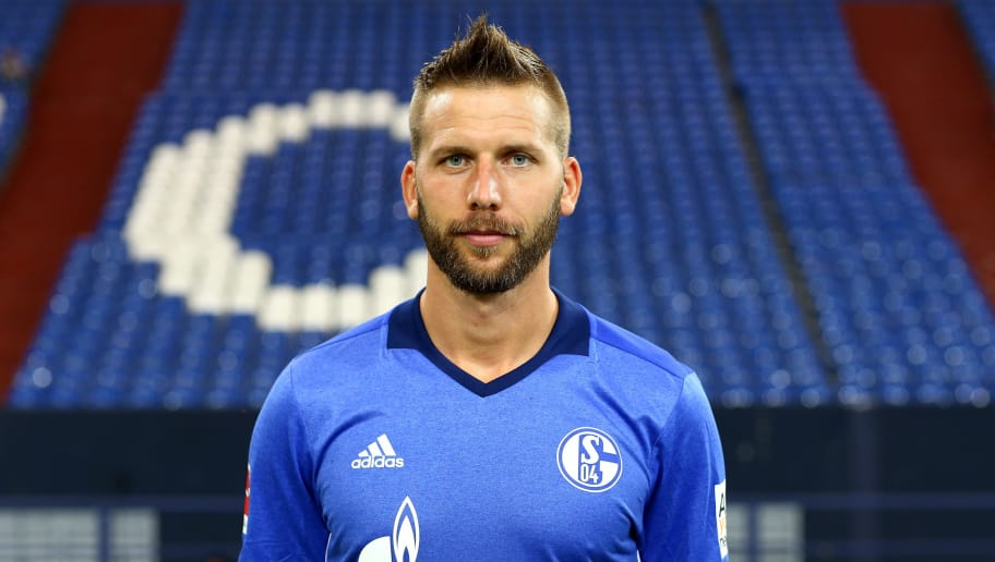 GELSENKIRCHEN, GERMANY - JULY 12:  Guido Burgstaller of FC Schalke 04 poses during the team presentation at Veltins Arena on July 12, 2017 in Gelsenkirchen, Germany.  (Photo by Christof Koepsel/Bongarts/Getty Images)