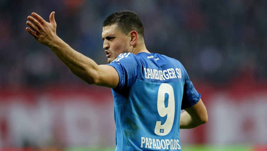 LEIPZIG, GERMANY - FEBRUARY 11: Kyriakos Papadopoulos of Hamburger SV reacts during the Bundesliga match between RB Leipzig and Hamburger SV at Red Bull Arena on February 11, 2017 in Leipzig, Germany.  (Photo by Boris Streubel/Bongarts/Getty Images)